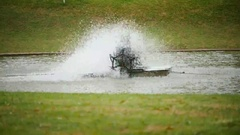 Water turbine in public park Stock Footage