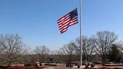US Flag Waving Over Civil War era Canons Stock Footage