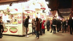 Christmas market of the Champs Elysees at night. Stock Footage
