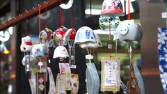 Japanese wind chime symbol of Summer season. Good souvenir Stock Footage