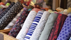 Japanese yukata and kimono fashion fabric roll selling at shop in Japan Arkistovideo