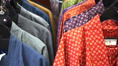 Colorful Japanese yukata selling at shop in tourist area of Tokyo Stock Footage