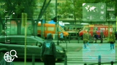 People Crossing - monitor - screen - CCTV camera - green Stock Footage