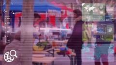 Market Food - monitor - screen - CCTV camera - purple Stock Footage