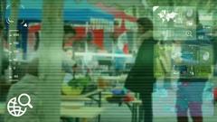 Market Food - monitor - screen - CCTV camera - green Stock Footage