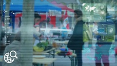 Market Food - monitor - screen - CCTV camera - blue Stock Footage