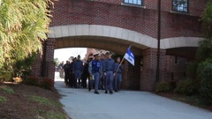 Cadets March in Formation with Platoon Flag Stock Footage