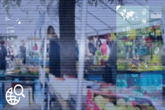 Market - monitor - screen - CCTV camera - blue  - SD Stock Footage