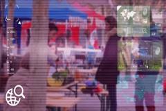 Market Food - monitor - screen - CCTV camera - purple  - SD Stock Footage