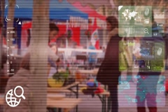 Market Food - monitor - screen - CCTV camera - red  - SD Stock Footage