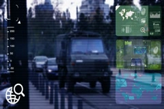 Military Vehicle - monitor - screen - CCTV camera - blue - SD Stock Footage