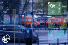 People Crossing - monitor - screen - CCTV camera - blue  - SD Stock Footage