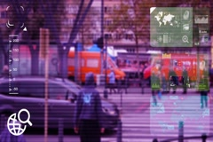 People Crossing - monitor - screen - CCTV camera - purple  - SD Stock Footage