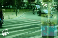 People passing - monitor - screen - CCTV camera - green  - SD Stock Footage