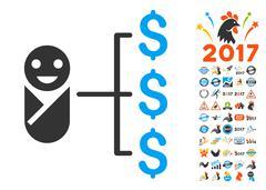 Baby Expenses Icon With 2017 Year Bonus Symbols Stock Illustration