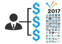 Banker Payments Icon With 2017 Year Bonus Symbols Stock Illustration