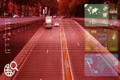 Tunnel - monitor - screen - CCTV camera - red  - SD Stock Footage