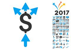 Divide Payment Icon With 2017 Year Bonus Symbols Stock Illustration