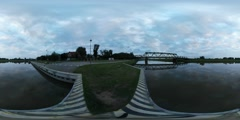360Vr Video Bridge Over River Oder Pier Buildings by Oder Smooth Water Stock Footage