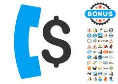 Pay Phone Call Icon With 2017 Year Bonus Symbols Stock Illustration