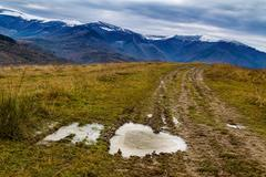 Beautiful snow-capped Carpathian Mountains in late autumn Stock Photos