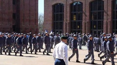 RMA Cadets Pass in Review at Campus Quadrangle. Stock Footage