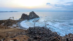 4K. Sunset on Lake Baikal. Burkhan Cape, Olkhon island, Lake Baikal, Irkutsk  Stock Footage