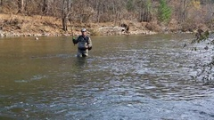 Fisherman catches of grayling in the autumn Stock Footage