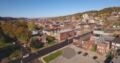 Rising Aerial Shot of Typical Western Pennsylvania Small Town  	 Stock Footage