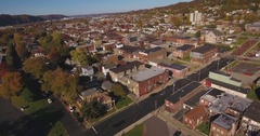 Forward Aerial Shot of Typical Western Pennsylvania Small Town   Stock Footage