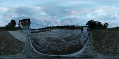 360Vr Video Observation Tower at the Opole Dam Water Flows Tourist City Bridge Stock Footage