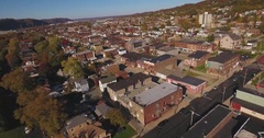 Reverse Aerial Shot of Typical Western Pennsylvania Small Town	 	 Stock Footage