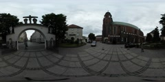 360Vr Video Memorial Day Opole People on Square in Front of Catholic Church Stock Footage