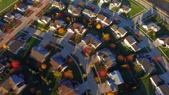 Tranquil idyllic Autumn neighborhood at dawn, Appleton, Wisconsin Stock Footage