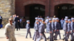 Soft Focus of RMA Cadets Running from Parade Stock Footage