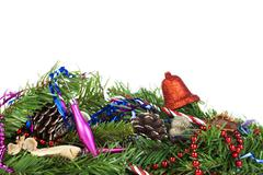 Pile of christmas decorations on a pure white background Stock Photos