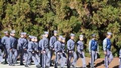 RMA Cadets Walking on Campus Stock Footage