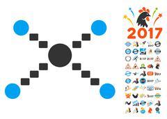 Dotted Links Icon With 2017 Year Bonus Symbols Stock Illustration