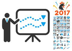 Trends Presentation Icon With 2017 Year Bonus Pictograms Piirros