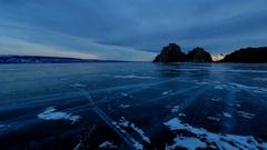 4K. Sunrise over the island of Olkhon, Lake Baikal, Irkutsk region, Russia. U Stock Footage