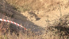 Moto Cross Bikers are Jumping over Hill at the Competition Stock Footage