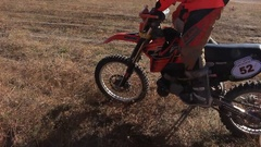 Rider of Motocross Motorbike is Stuck in the Mud Stock Footage