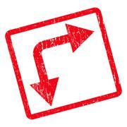 Bifurcation Arrow Right Down Icon Rubber Stamp Stock Illustration