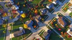 Tranquil idyllic Autumn neighborhood at daybreak, Appleton, Wisconsin Stock Footage