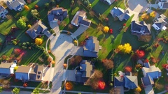 Tranquil idyllic Autumn neighborhood at dawn, Appleton Wisconsin Stock Footage