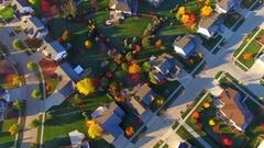 Tranquil idyllic Autumn neighborhood at daybreak, Appleton Wisconsin Stock Footage