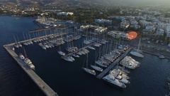 Yacht marina in Kos island. Aerial view. Stock Footage