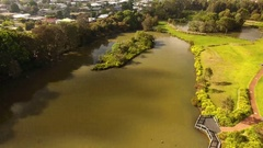 4K Aerial Toowoomba Water Bird Habitat With Birds Flying Stock Footage