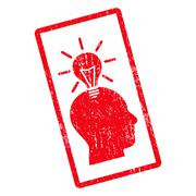 Genius Bulb Icon Rubber Stamp Stock Illustration