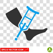 Leg And Crutch Vector Eps Icon Stock Illustration